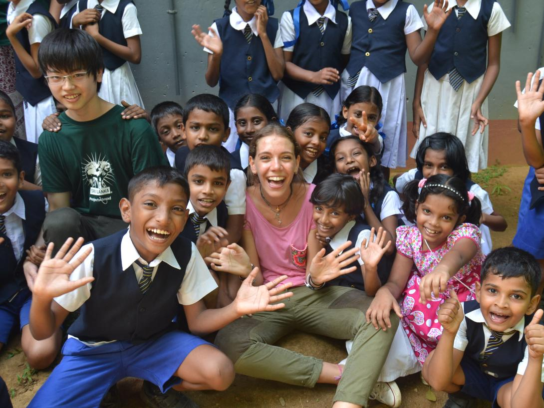 On a safe volunteer project overseas, teenagers spend time with the children in Sri Lanka during their placement with Projects Abroad.